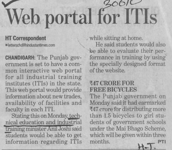 Web portal for ITIs (Punjab State Board of Technical Education (PSBTE) and Industrial Training)