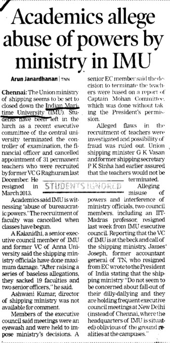 Academics allege abuse of powers by ministry in IMU (Indian Maritime University)