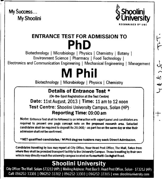 PhD and M Phil (Shoolini University)
