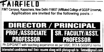 Director and Asstt Professor (Fairfield Institute of Management and Technology)