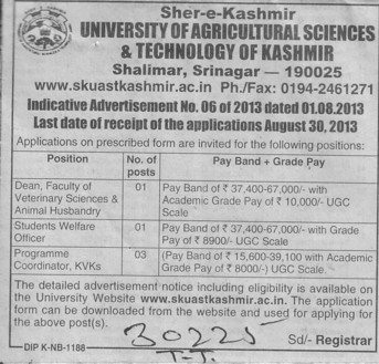 Dean and Programme coordinator (Sher-e-Kashmir University of Agricultural Sciences and Technology of Kashmir)