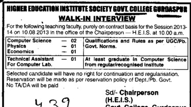 Faculty on contract basis (Government College)