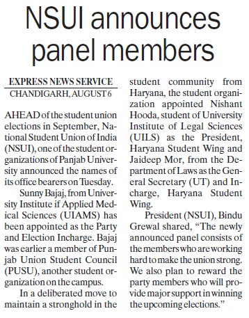 NSUI announces panel members (National Students Union of India NSUI Punjab)