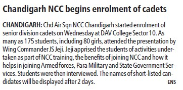 Chandigarh NCC begins enrolment of cadets (DAV College Sector 10)