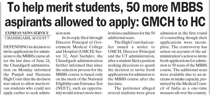 50 more MBBS aspirants allowed to apply, GMCH to HC (Government Medical College and Hospital (Sector 32))