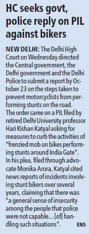 HC seeks govt, police reply on PIL against bikers (Delhi University)
