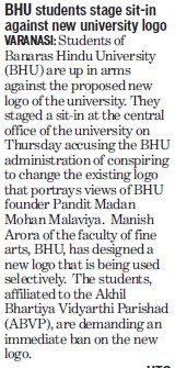 Students stage sit in against new university logo (Banaras Hindu University)