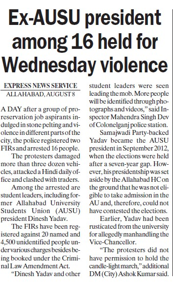 Ex AUSU president among 16 held for wed violence (University of Allahabad)