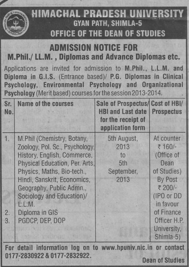 M Phil and LLM (Himachal Pradesh University)