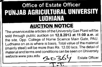 Auction for plant (Punjab Agricultural University PAU)