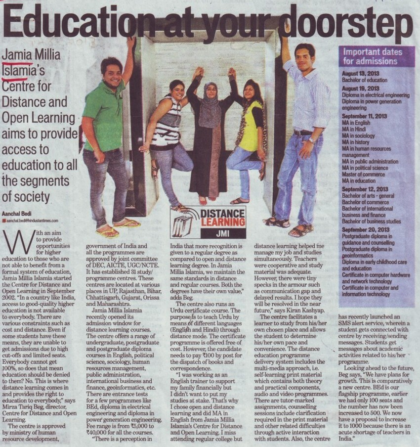 Education at your doorstep (Jamia Millia Islamia)