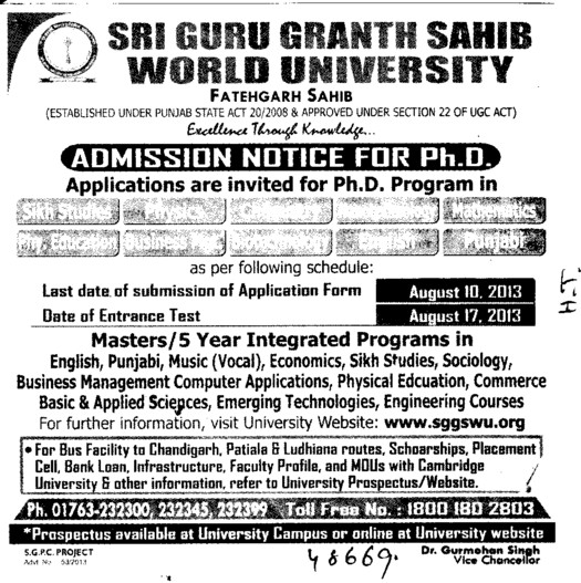 PhD in Phy Education and Business Management (Sri Guru Granth Sahib World University)