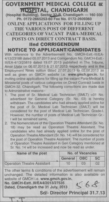 Operation Theatre Assistant (Government Medical College and Hospital (Sector 32))