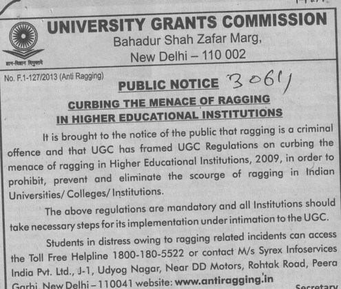 Cubbing the menace of ragging (University Grants Commission (UGC))