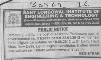 Asstt Professor post (Sant Longowal Institute of Engineering and Technology SLIET)