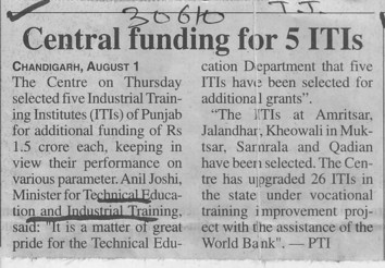 Central funding for 5 ITIs (Punjab State Board of Technical Education (PSBTE) and Industrial Training)