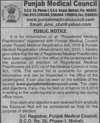 Registered Medical Practitioners (PUNJAB MEDICAL COUNCIL)