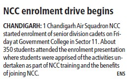 NCC enrolment drive begins (Post Graduate Government College (Sector 11))
