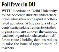 Poll fever in DU (Delhi University)