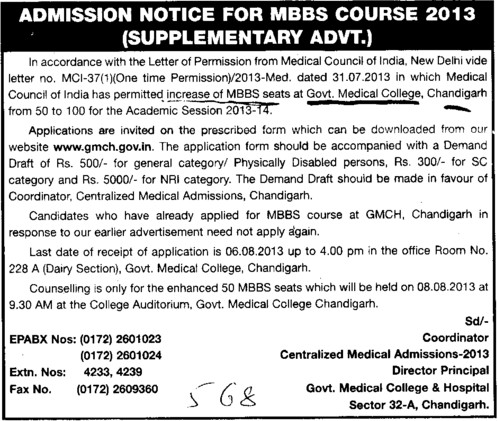 MBBS course (Government Medical College and Hospital (Sector 32))