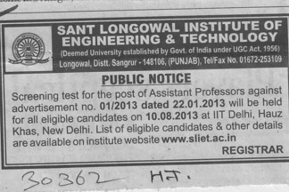 Asstt Professor (Sant Longowal Institute of Engineering and Technology SLIET)