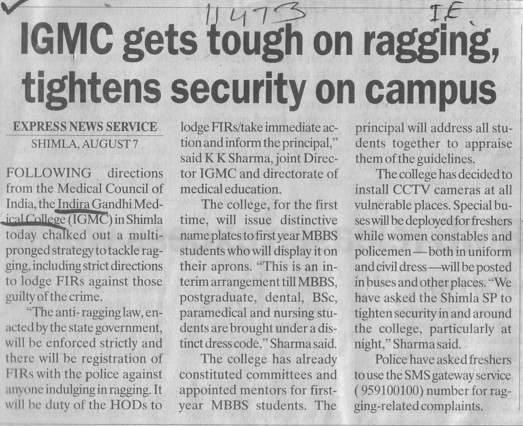 IGMC gets tough on ragging (Indira Gandhi Medical College (IGMC))
