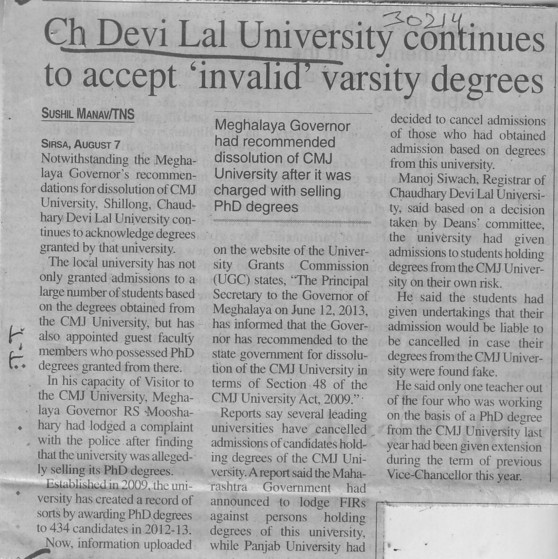 CDLU continues to accept invalid varsity degrees (Chaudhary Devi Lal University CDLU)