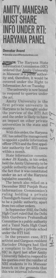 Amity Maneswar must share info under RTI, Haryana Panel (Amity University Manesar)