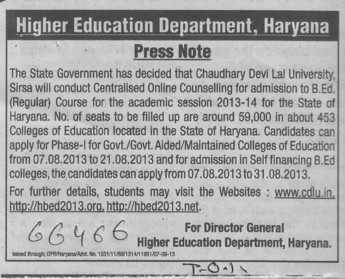 Press Note for B Ed course (Department of Higher Education Haryana)