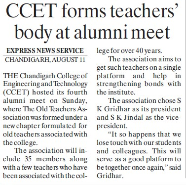 CCET forms teachers body at alumni meet (Chandigarh College of Engineering and Technology (CCET))