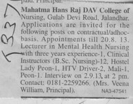 Asstt Professor on contract basis (Mahatma Hans Raj DAV Institute of Nursing)