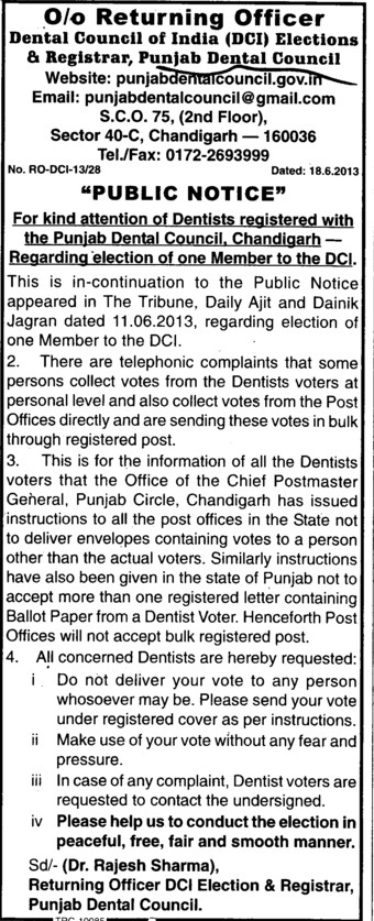 Election of one member to DCI (Punjab Dental Council)