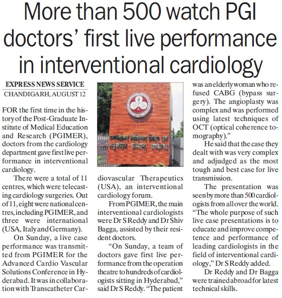 1st live performance in interventional cardiology (Post-Graduate Institute of Medical Education and Research (PGIMER))