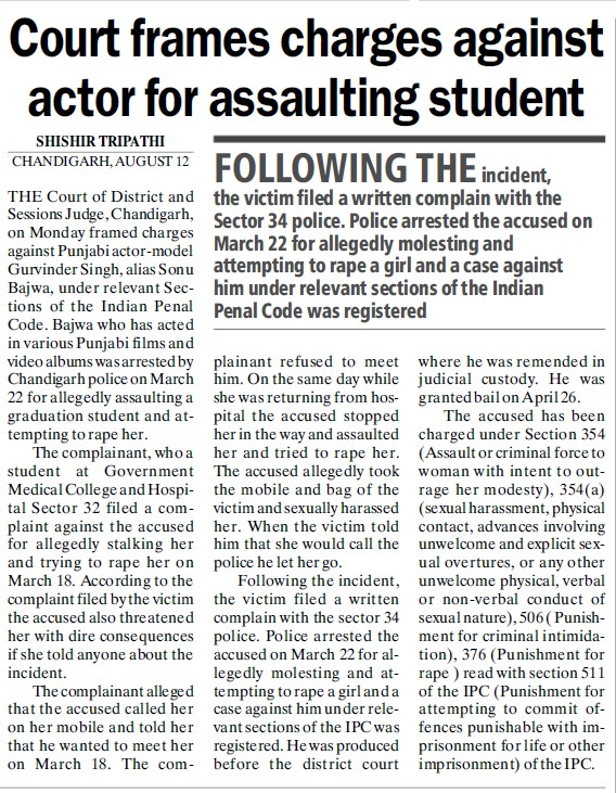 Court frames charges against actor for assaulting student (Government Medical College and Hospital (Sector 32))