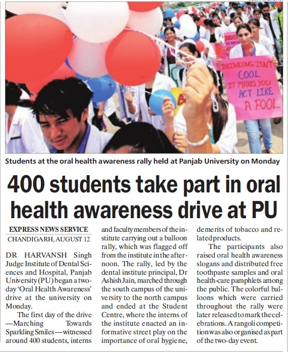 400 students participate in Health Awareness (Dr Harvansh Singh Judge Institute of Dental Sciences and Hospital)