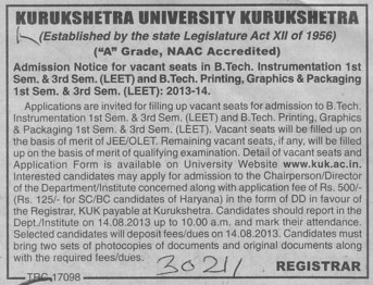 BTech through LEET (Kurukshetra University)