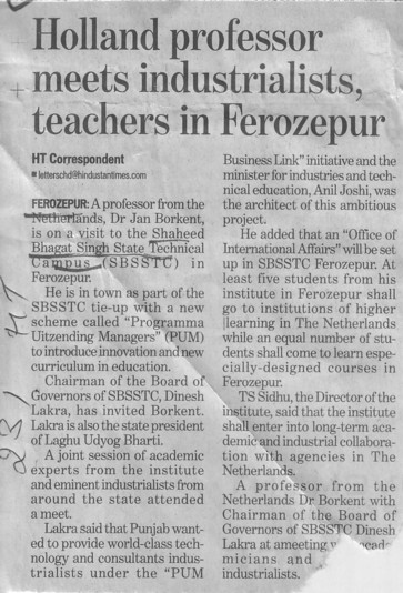 Holland Professor meets industrialists, teachers in ferozepur (Shaheed Bhagat Singh State (SBBS) Technical Campus)