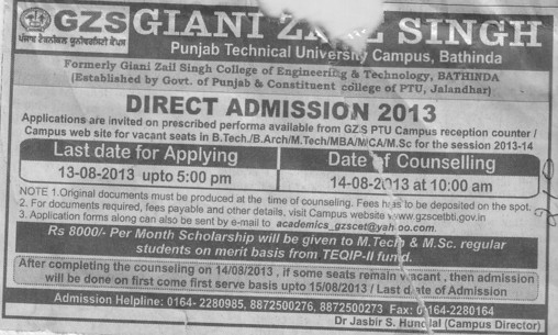 B Arch and MBA courses (Giani Zail Singh College Punjab Technical University (GZS PTU) Campus)