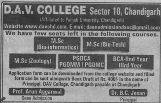MSc in Zoology (DAV College Sector 10)