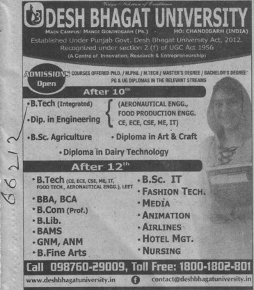 BTech in Aeronautical Engg (Desh Bhagat University)