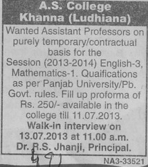 Asstt Professor on contract basis (AS College)