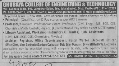 Principal and Asstt Registrar (Ghubaya College of Engineering and Technology GCET)