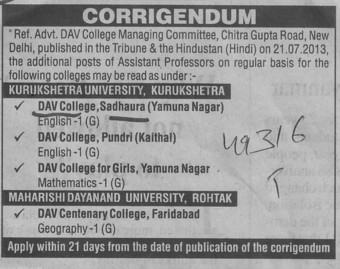 Asstt Professor on regular basis (DAV College)