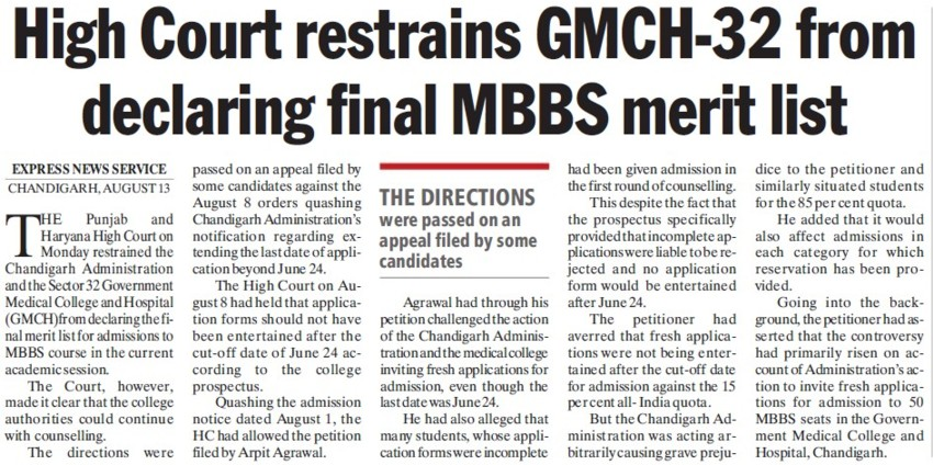 HC restrains from declaring final MBBS merit list (Government Medical College and Hospital (Sector 32))