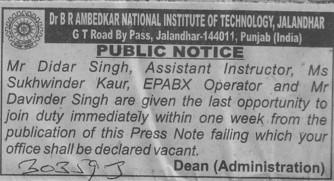 Asstt Instructor (Dr BR Ambedkar National Institute of Technology (NIT))
