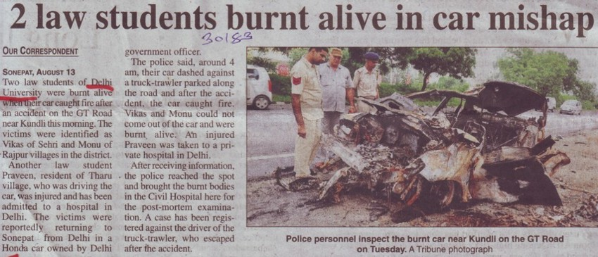 Two Law students burnt alive in car mishap (Delhi University)