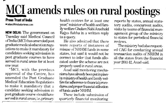 MCI amends rules on rural postings (Medical Council of India (MCI))