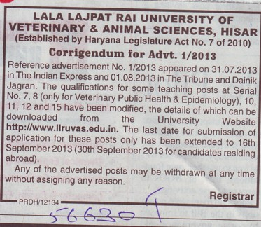 Changes in Vacancy (Lala Lajpat Rai University of Veterinary and Animal Sciences)