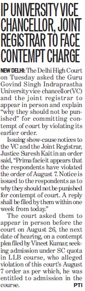 VC joint registrar to face contempt charge (Guru Gobind Singh Indraprastha University GGSIP)