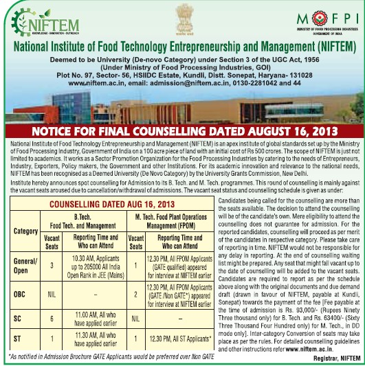 B Tech in Food Management (National Institute of Food Technology Entrepreneurship and Management (NIFTEM))